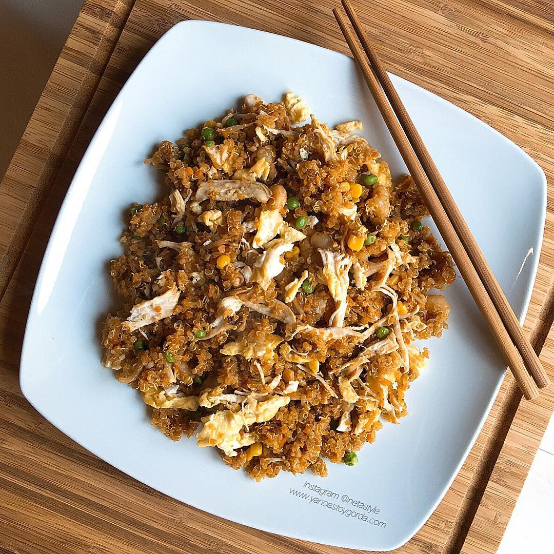 Quinoa con pollo y gambas estilo chino fit for Cocinar quinoa negra