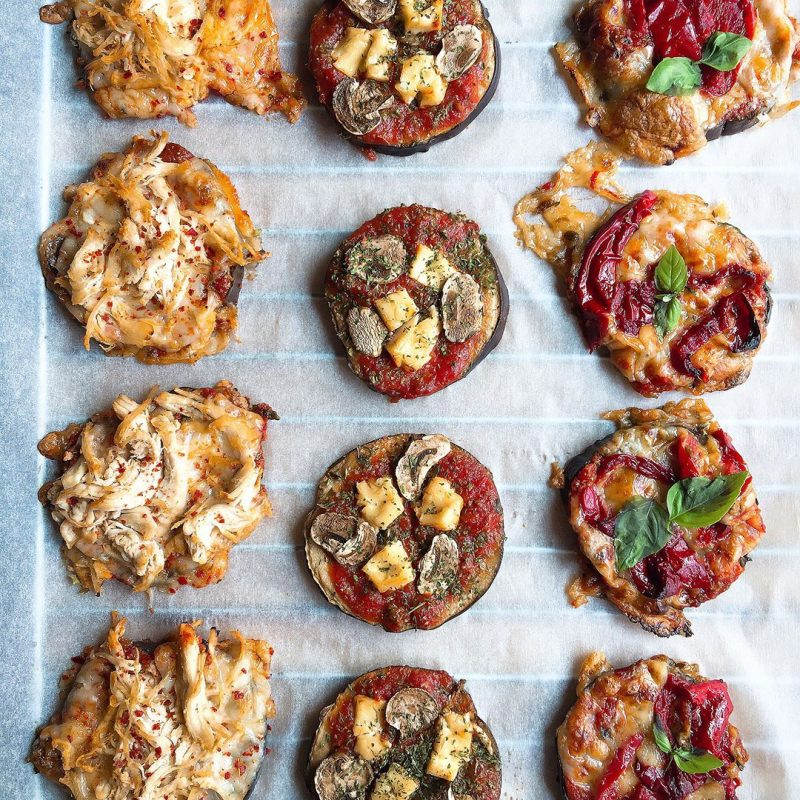 "Mini pizzas de berenjena ""al gusto"""