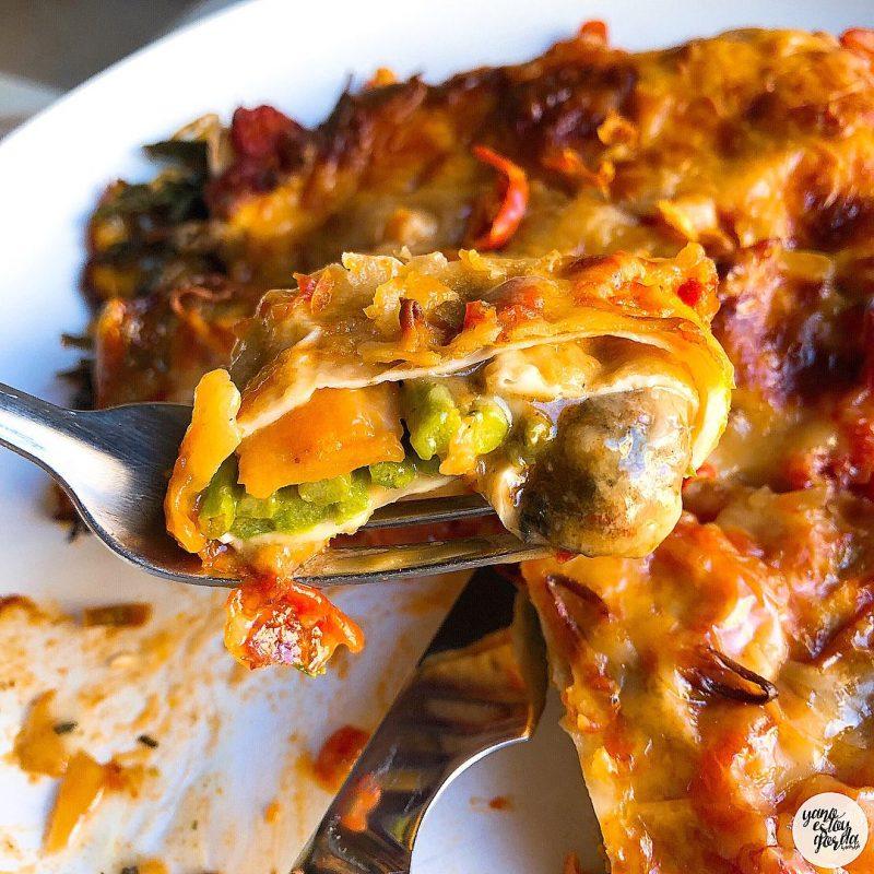 Falsos canelones con verduras y queso proteínico