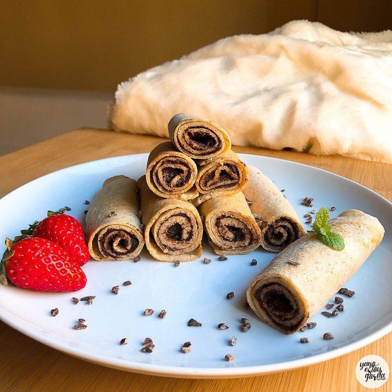 Crepes de avena integral con nutella saludable casera (rawtella)