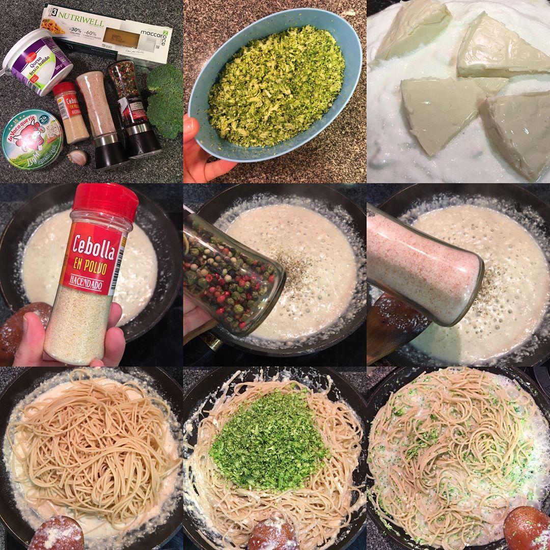 Espaguetis proteicos con brócoli y crema de queso