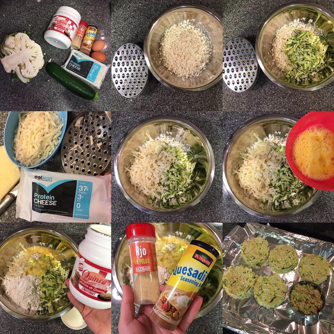 Tortas de coliflor, calabacín y queso